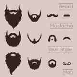 Barbes et moustaches réglées Image stock