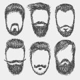Barbes, moustaches réglées Photo libre de droits