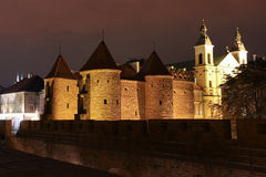 Barbican and castle walls. Warsaw. Poland. stock photo