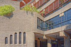 Barbican centre london. Image taken of one of the interior courtyards within the center showing its brutalist architectural design. The Barbican Estate was Royalty Free Stock Image