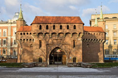 Barbican, Cracow, Krakow, Poland. Barbican Defensive Bastion built in 1498 Old Town Krakow Poland Stock Image