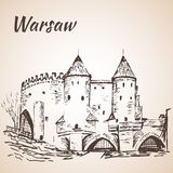 Barbican de Varsóvia esboço Fotografia de Stock