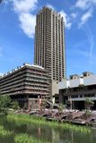 The Barbican Estate. LONDON, UK - JULY 6, 2016: Barbican Estate in the City of London. The brutalist style residential estate was built in 1960s and '70s stock photography