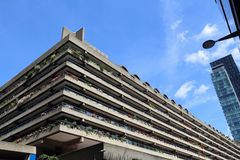 Barbican Estate. LONDON, UK - JULY 6, 2016: Barbican Estate in the City of London. The brutalist style residential estate was built in 1960s and '70s royalty free stock image