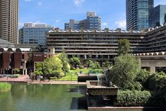 Barbican Estate. LONDON, UK - JULY 6, 2016: Barbican Estate in the City of London. The brutalist style residential estate was built in 1960s and `70s royalty free stock photo
