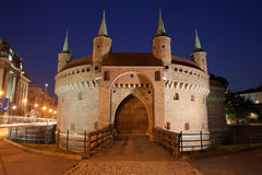 Barbican Fortification by Night in Krakow Stock Photo