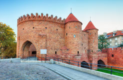 Barbican fortress in the historic center of Warsaw. Stock Image