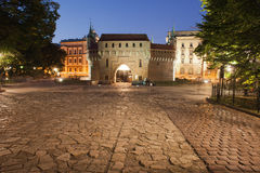 Barbican by Night in Krakow Stock Photography