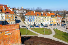 Barbican and old town square in Warsaw in a sunny day. Warsaw is the capital of Poland Royalty Free Stock Photo
