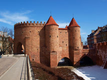 Barbican in Warsaw. Medieval fortifaction elemnt from Warsaw city walls stock images