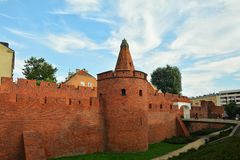 Barbicon of Warsaw. City walls of Warsaw around Old Town Stare Miasto , Poland stock image