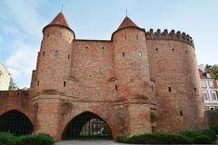 Barbicon of Warsaw. City walls of Warsaw around Old Town Stare Miasto , Poland royalty free stock images