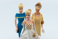Barbie Dolls against white. Selective focus royalty free stock image
