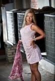 Barbie Girl en el vestido rosado que sostiene la bufanda de seda en la calle Imagen de archivo