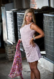 Barbie girl in pink dress holding silk scarf on street Stock Image