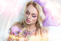 Barbie girl. Portrait of beautiful young lady, model, woman, actress, princess. Perfect makeup, long eyelashes, clean soft skin, gentle pink lips royalty free stock photo