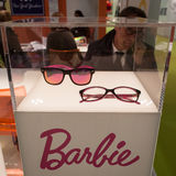 Barbie glasses on display at Mido 2014 in Milan, Italy Royalty Free Stock Photography