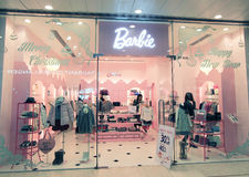 Barbie shop in hong kong. Barbie shop, located in Harbour City, Tsim Sha Tsui, Hong Kong. Barbie is a girl clothing retailer in Hong Kong royalty free stock photo