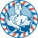 Barbiere con la taglierina e le forbici dei capelli del tagliatore Fotografia Stock Libera da Diritti