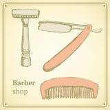 Barbiere di schizzo messo nello stile d'annata illustrazione vettoriale