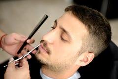 Barbiere e cliente Fotografia Stock Libera da Diritti