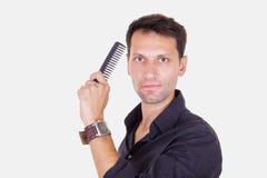 Barbiere maschio con il pettine immagine stock