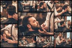 Barbiere sul lavoro Immagine Stock