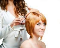 Barbiere sul lavoro, isolato Fotografie Stock