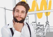 Barbilla milenaria del hombre a mano contra y amarilla oficina dibujada la mano gris Fotos de archivo libres de regalías
