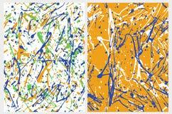 Barbouillages expressifs Art de peinture de style de colin Modèles géométriques abstraits de vecteur d'O2 d'ensemble illustration libre de droits