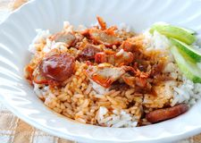 Barbuced red pork in sauce with rice Royalty Free Stock Images