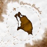 Barbuda akwareli wyspy mapa w sepiowych kolorach Ilustracji