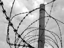 Barbwire. Barbed wire in front of cloudy sky. Interesting Fact: Actually this is a picture of barbed wire around the former jail on Robben Island, South Africa Royalty Free Stock Images