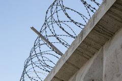 The barbwire. Concrete fence with a barbed wire against the sky Royalty Free Stock Image