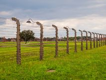 Barbwire fence in concentration camp Stock Photos
