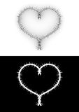 Barbwire heart with clipping path Stock Photos