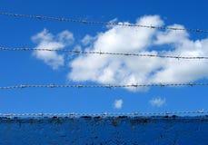 Barbwire op hemel Stock Foto