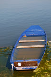 Barca abbandonata in pieno di acqua Fotografie Stock Libere da Diritti