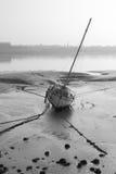 Barca al Manica di Walney di primo mattino di bassa marea Fotografia Stock