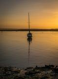 Barca al tramonto Fotografia Stock Libera da Diritti