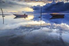 Barca alla spiaggia di aru di Tanjung, Labuan La Malesia 16 Fotografia Stock