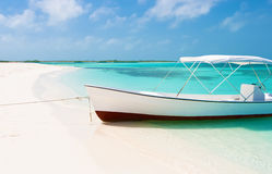 Barca alla spiaggia tropicale, Los Roques fotografia stock