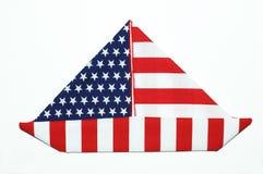 Barca americana resa a bandiera della forma Immagini Stock