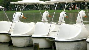 Barca bianca d'annata di ricreazione dell'anatra sul lago Fotografia Stock Libera da Diritti