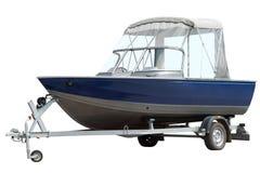 Barca blu sul rimorchio Fotografia Stock