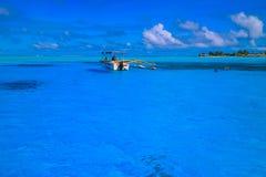 Barca in Bora Bora Fotografia Stock