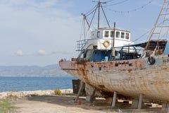 Barca in cantiere navale Fotografia Stock Libera da Diritti