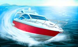 Barca che precipita attraverso le onde Fotografie Stock
