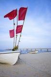 Barca con i flaggs Fotografia Stock