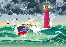 Barca con il faro Immagini Stock
